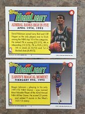 David Robinson SPURS & Magic Johnson LAKERS 91- 92 2x Topps Highlight Cards