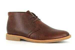 New Look Mens UK 10 EU 44 Brown Faux Leather Lace Fastening Desert Chukka Boots