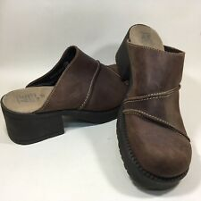 VTG American Eagle Womens Mules Brown Leather Chunky Made in Spain 10M