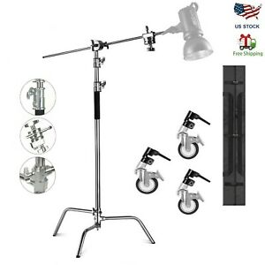 Heavy Duty Light Reflector C Stand with Boom Arm Castor Wheels for Aputure Godox