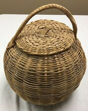 """Round basket cover With handle 12"""" across X 15"""" High wicker Weaved antique"""