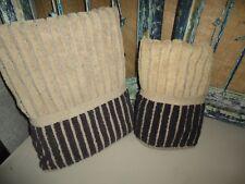 RALPH LAUREN RIBBED TAN & BLACK SAFARI STRIPE (2PC) BATH HAND TOWEL SET