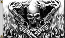 Assassin Skull with Flaming Pistols 3 x 5 Flag Wall Banner #1024