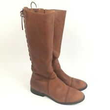Jessica Simpson Size 8.5 JP-Rakelle2 Women's Tall Brown Lace Up Zip Boots A1189