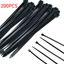 200X Black Nylon Plastic Cable Ties Zip Tie Lock Wraps Heavy Duty DIY Hand Craft