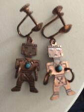 "Earrings Vintage 1950 Copper Turquoise Dangle Hopi Kachina Ethnic 1.5"""