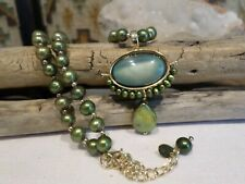 Sterling Lucas Lameth Southwest Green Pearl Pendant Necklace - Signed LUC