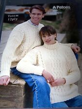 PATONS CABLE FRONT 12 PLY UNISEX SWEATER L549