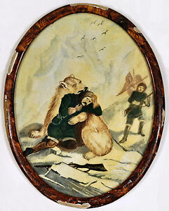 Arctic Explorer Attacked by Polar Bear c1890s, oil painting, framed