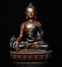 "8"" Tibet Buddhism Purple Bronze Medical God Menla Medicine Buddha Buddha Statue"