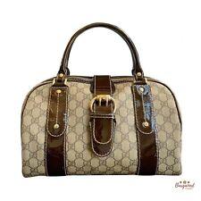 Authentic Gucci Rare Brown GG Supreme Patent Leather Boston Vanity Bag 203516
