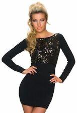 Vestiti da donna a manica lunga in cotone nero
