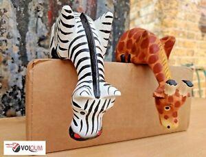 Hand Carved Fair Trade Wooden Shelf Giraffe Zebra Safari Sculpture Sitter Set 2