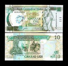 MALTA 10 LIRI P51 2000 *COMMEMORATIVE* UNC CLOCK RUDDER PIGEON EURO MONEY NOTE