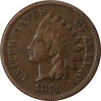 1874 1c Indian Head Cent Penny Coin VG Very Good