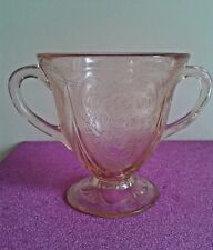 Vintage Art Deco USA Hazel Atlas Royal Lace Pink Depression Glass Sugar Bowl