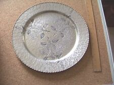 vintage Wrought Farberware hammered aluminum plate tray platter Roses design