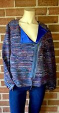 BEREK $278 Boucle Asymmetric Zip Front Jacket Neiman Marcus Blue Woven Medium