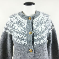 P14 Woolrich Snowfall Valley Cardigan Sweater Sz Small Womens Gray Knit