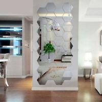 12Stück 3D Spiegel Hexagon Wandaufkleber Wandtattoo Wandsticker Abnehmbare Dekor