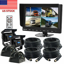 """9"""" Quad Monitor Rear View Security SYSTEM 4x 4Pin Metal CCD Camera For Truck Bus"""
