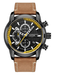 MENS LATOR CALIBRE L4787 CHRONOGRAPH WATCH  STAINLESS STEEL STRAP