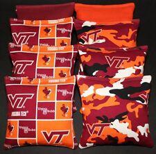 All Weather Cornhole Bean Bags w VIRGINIA TECH V Tech Hokies Fabric Resin Filled