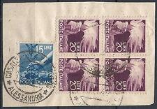 1945-48 ITALIA USATO DEMOCRATICA FRAMMENTO 20 LIRE QUARTINA + 15 LIRE - RR12031