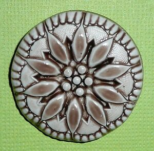 "Beautiful Flower Large Chocolate Brown Art Stone Flower Shank Button -  1-5/16"""