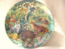 "DANBURY MINT TIGER CATS PLATE 8"" DESIGN BY LESLEY ANNE IVORY WITH 22ct GOLD RIM"