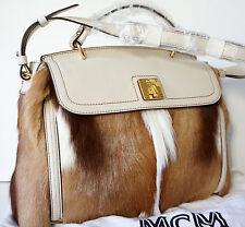 MCM Mocha Luxe Medium Satchel Shoulder Bag JUMBO REAL FUR IVORY LEATHER FLAP