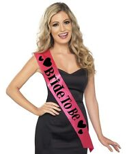 Ladies Hen Party Bride to Be Sash Pink/Black Satin Look New by Smiffys