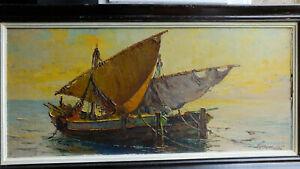 TABLEAU signé Fortuné Car Peinture huile panneau HSP Marine barques pêcheur mer
