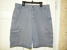 HIGH SIERRA MENS FLAT FRONT 100% COTTON CARGO SHORTS GRAY EUC 34 INSEAM 9""