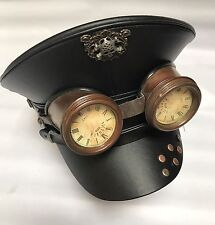 Military Style Black Leather Look Hat With Rustic goggles 58cm