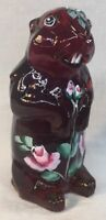 Boyd Art Glass Hand Painted Roses On Red Woodchuck