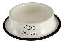Premier Housewares Adore Pets Fat Cat Bowl, 0.4L, Cream