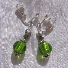 clips ou boucles d'oreilles dormeuses au choix verre vert cristaux « rosée»