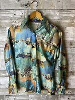 1970s Disco Shirt Mens Allover Print Rockabilly Disco Shirt Size s Blue