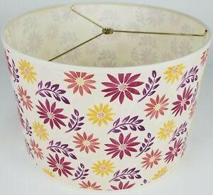 "NEW Drum Lamp Shade 15"" Dia 10"" H Contemporary Sunflower Purple Creme Fabric"