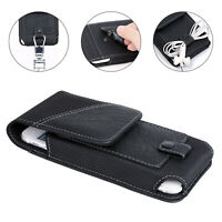 For Large Cell Phone Leather Carrying Pouch Case Cover Belt Clip Holster