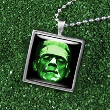 Frankenstien Universal Monster Icon Silver Glass Gothic Horror Pendant Necklace
