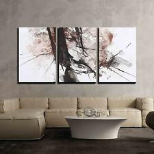 """Wall26 - Black and Red Abstract Brush Painting - CVS - 24""""x36""""x3 Panels"""