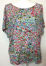 French Connection Woman's Large Floral Print Rayon Cheerful Blouse Top Shirt