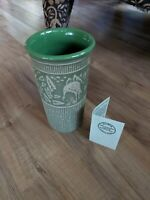 Red Wing 2004 Convention Stoneware Brush Ware Pottery Green Vase