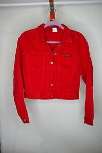 Vintage Women's Parker Jeans Red Cropped Denim Jacket Size M