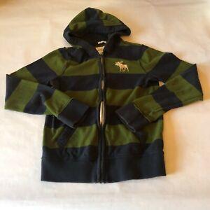 Abercrombie kids full zip blue and green striped hooded sweatshirt Boys XL