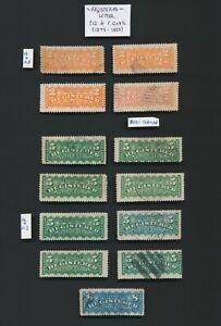 CANADA STAMPS 1875-1892 REGISTRATION STAMPS INC SG #R9 8c & #r10/11 PERF VAR