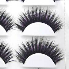 EXM44 6 Pairs Handmade Thick Long Black+Purple False eyelashes Party eye lashes