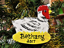 CHICKEN Ornament U CHOOSE NAME & YEAR Personalize Name Christmas Holiday Gift